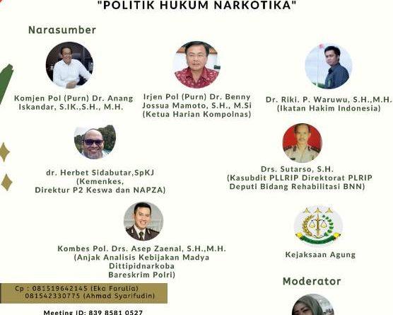 Webinar Politik Hukum Narkotika, Rehabilitasi Korban Penyalahgunaan Narkoba